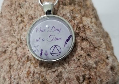 AA Necklace with Alcoholics Anonymous Slogan One Day At A Time