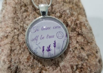 AA Necklace with Alcoholics Anonymous Saying: To thine own self be true