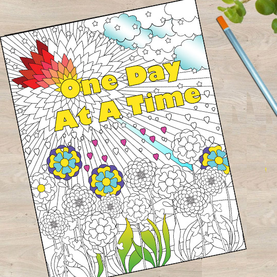 One Day at at Time adult coloring book page by Monica Morgan half colored