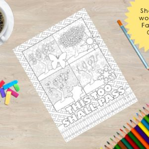 This too shall pass, adult coloring book page