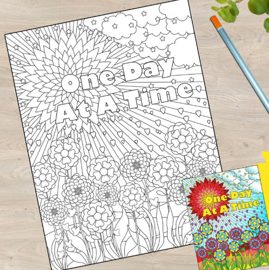 coloring book page - one day at at time primary