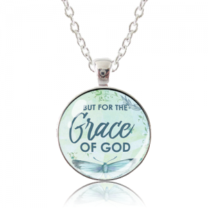 Glass Pendant Necklace - Butterfly Bliss - But for the grace of God