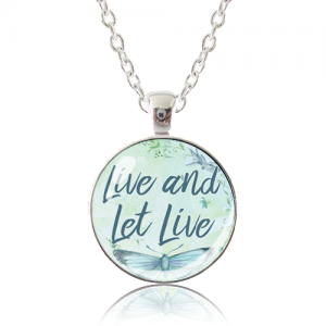 Glass Pendant Necklace - Butterfly Bliss - Live and Let Live