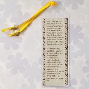 AA 3rd Step Prayer Bookmark on a tan background with decorative border