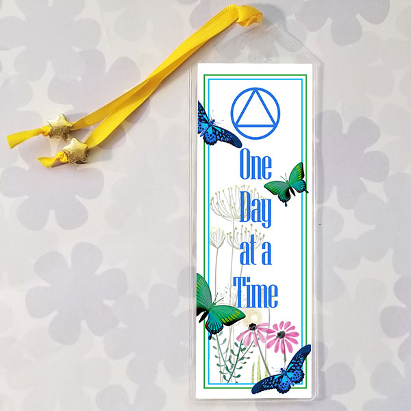 Bookmark with Butterflies featuring the AA Slogan One Day at a Time