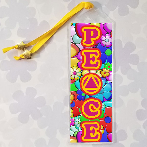 Bookmark with hippy theme and AA Symbol as the letter A