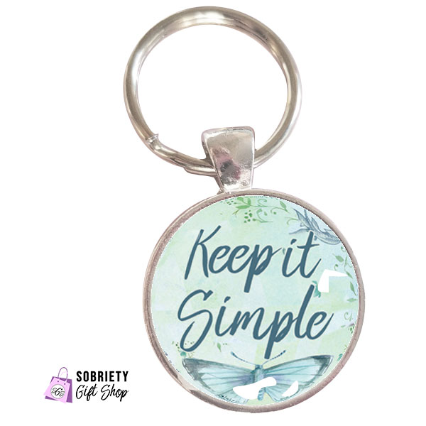 Keychain with AA Slogan Keep it Simple on Butterfly Bliss background