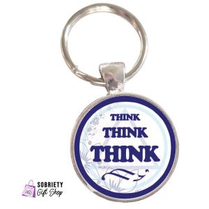 Keychain with AA Slogan Think think think - classic blue design