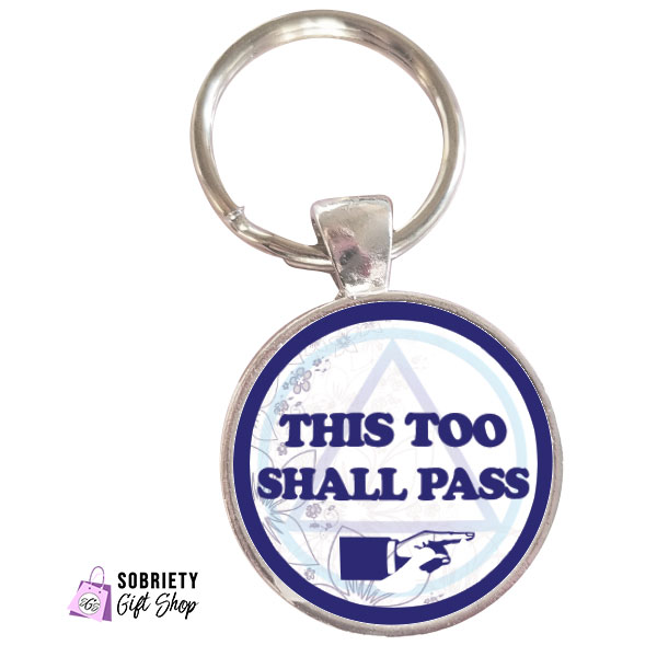Keychain with AA Slogan This too shall pass - classic blue design