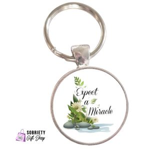 Keychain-with-Serene-Rocks-Design---Expect-A-Miracle