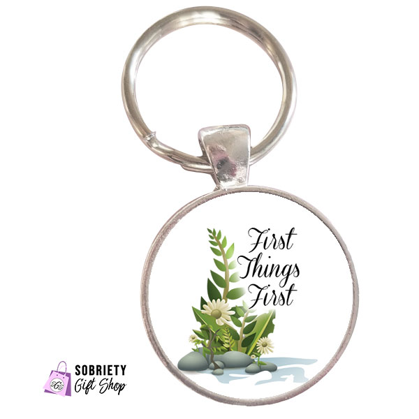 Keychain-with-Serene-Rocks-Design---First-Things-First