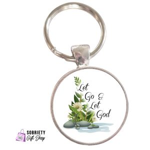 Keychain-with-Serene-Rocks-Design---Let-Go-and-Let-God