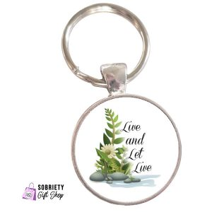 Keychain-with-Serene-Rocks-Design---Live-and-Let-Live
