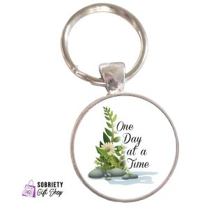 Keychain-with-Serene-Rocks-Design---One-Day-At-A-Time