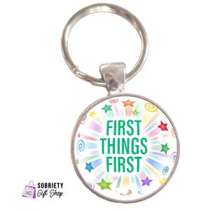 Keychain-with-Starburst-Design---First-Things-First
