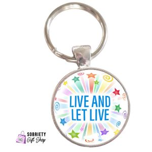 Keychain-with-Starburst-Design---Live-and-let-live