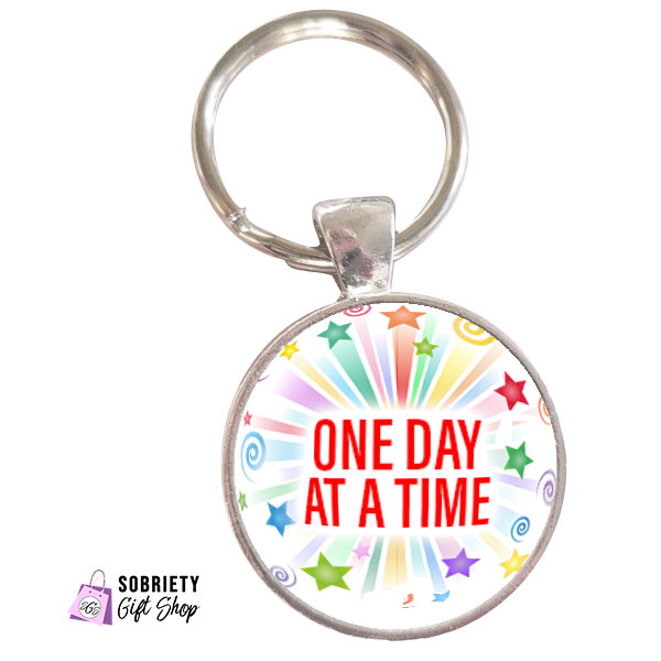 Keychain-with-Starburst-Design---One-Day-at-a-Time