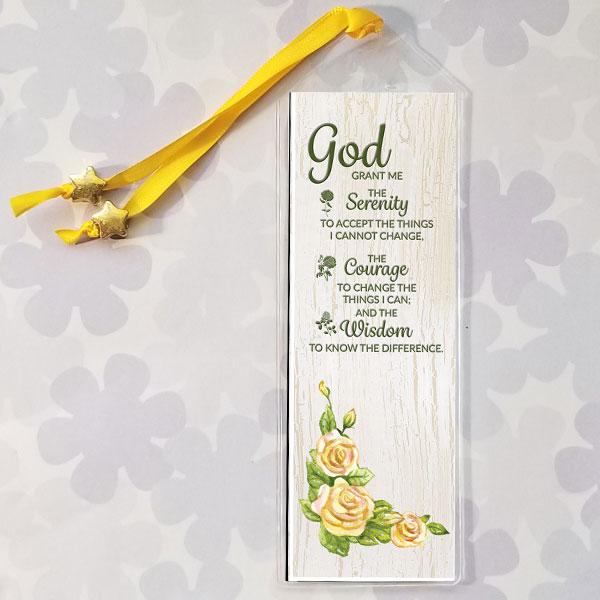 Serenity Prayer Bookmark with Feminine Yellow Rose Design