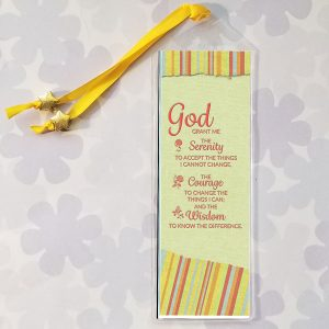 Serenity Prayer Bookmark on yellow with torn edges design