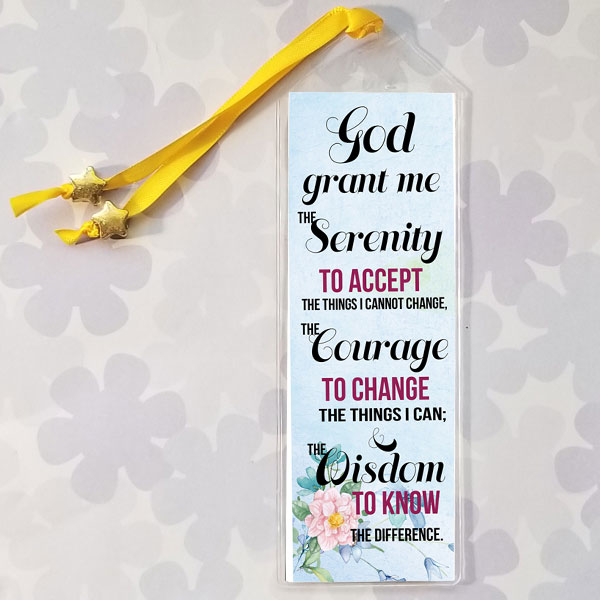 Serenity Prayer Bookmark with Modern Design on a light blue background
