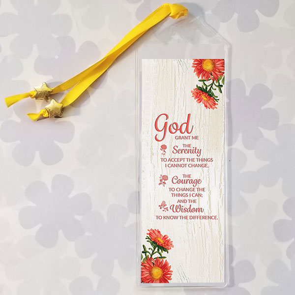Serenity Prayer Bookmark with orange flowers