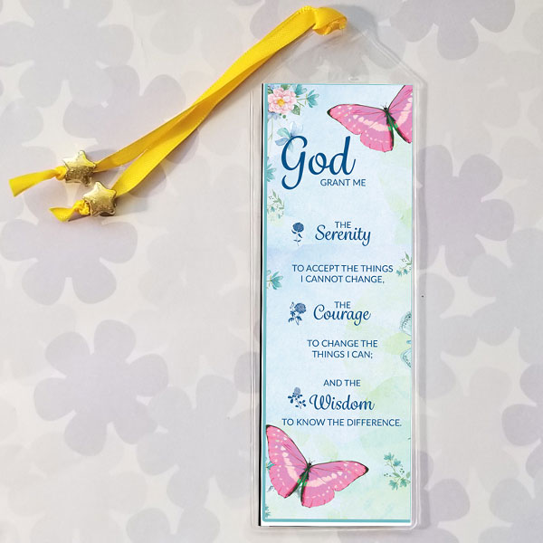 Serenity Prayer on blue background with pink butterflies