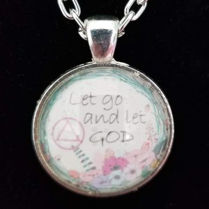 Glass pendant necklace - Basket of Hope Collection - Let go and let God