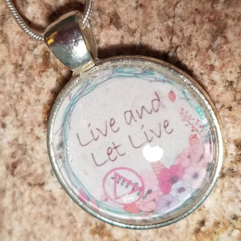 Glass pendant necklace - Basket of Hope Collection - Live and let live