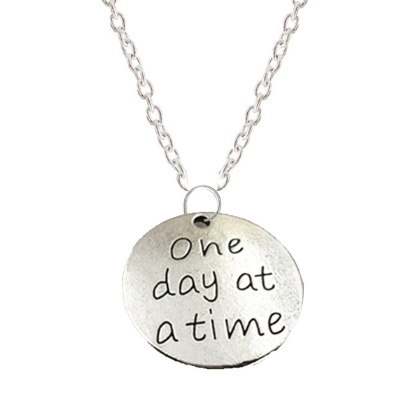 AA Charm Necklace - One day at a time