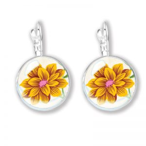 Glass cabochon earrings with a yellow and pink flower on white background