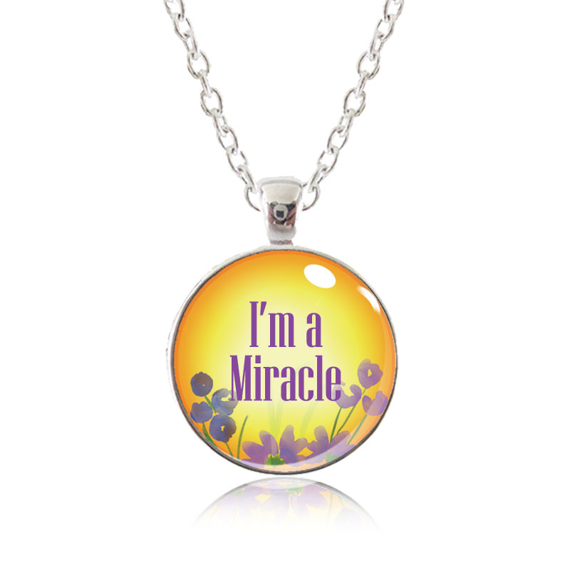 Glass Pendant Necklace - Arizona Sun - I'm a miracle