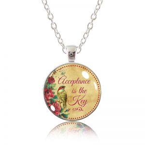Glass Pendant Necklace - Little Bird - Acceptance is the Key