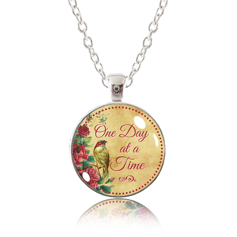 Glass Pendant Necklace - Little Bird - One Day at a Time