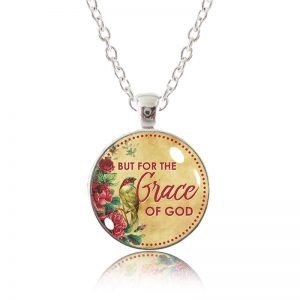 Glass Pendant Necklace - Little Bird - But for the Grace of God
