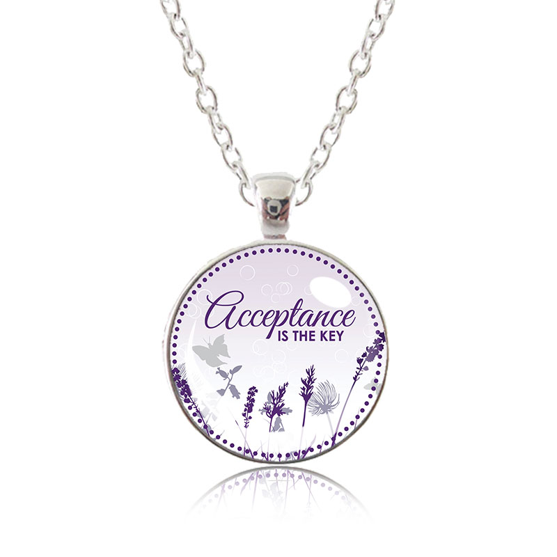 Glass Pendant Necklace - Natalie's Birthday - Acceptance is the key