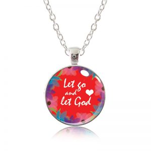 Glass Pendant Necklace - Red Lipstick - Let go and let God