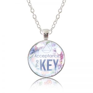 Glass Pendant Necklace - English Garden - Acceptance is the key