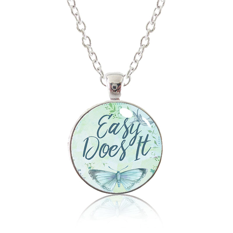 Glass Pendant Necklace - Butterfly Bliss - Easy Does It