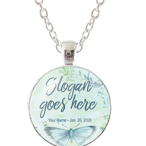 Custom Glass Pendant Necklace - Butterfly Bliss