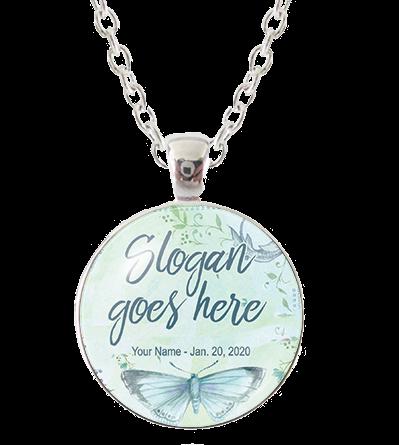 Custom Glass Pendant Necklace - Butterfly Bliss