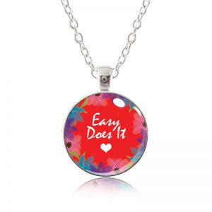 Glass Pendant Necklace - Red Lipstick - Easy Does It