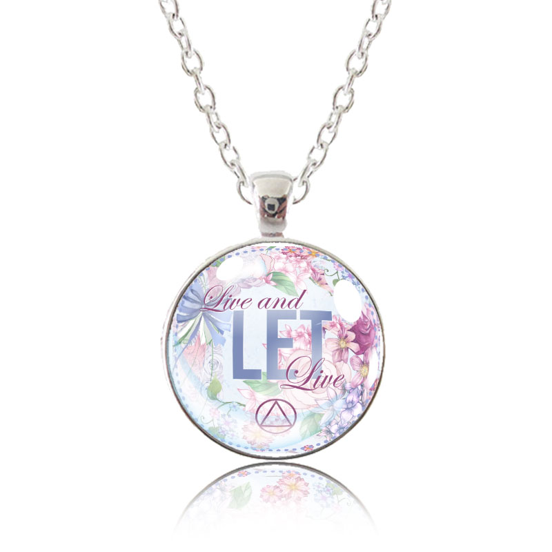 Glass Pendant Necklace - English Garden - Live and Let Live