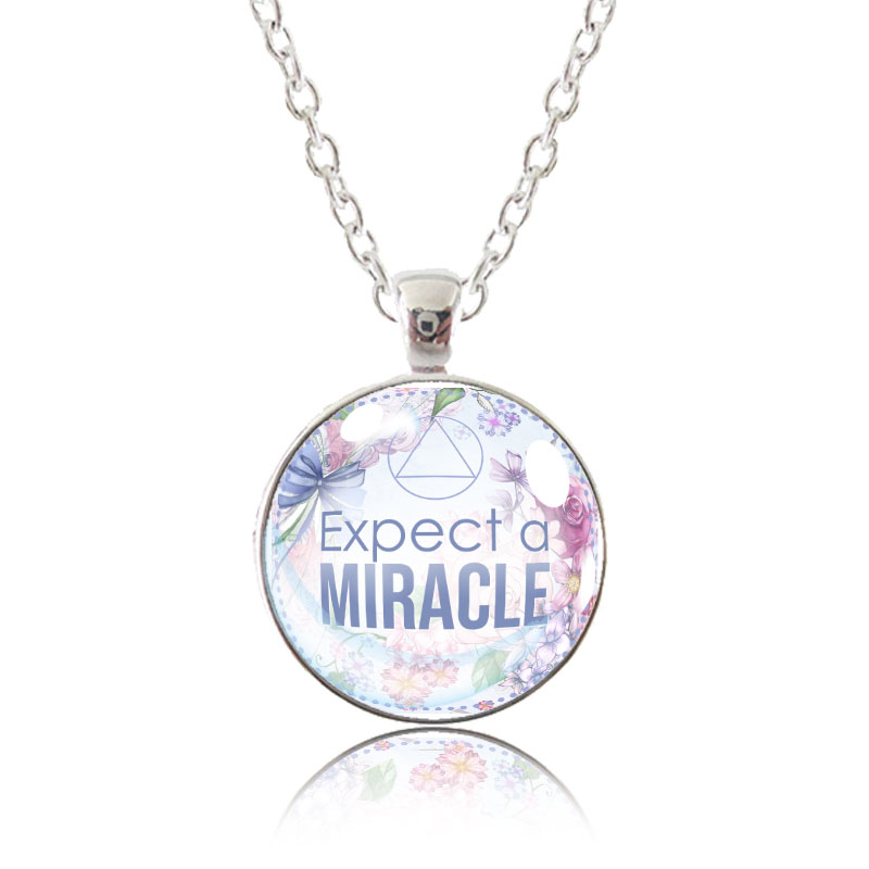 Glass Pendant Necklace - English Garden - Expect A Miracle