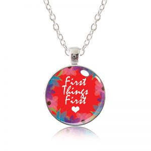Glass Pendant Necklace - Red Lipstick - First Things First