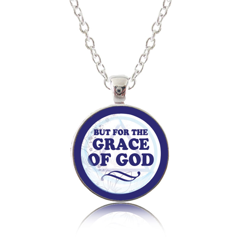 Glass Pendant Necklace - Classic Design - But for the Grace of God