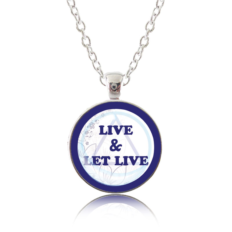 Glass Pendant Necklace - Classic Design - Live and let live