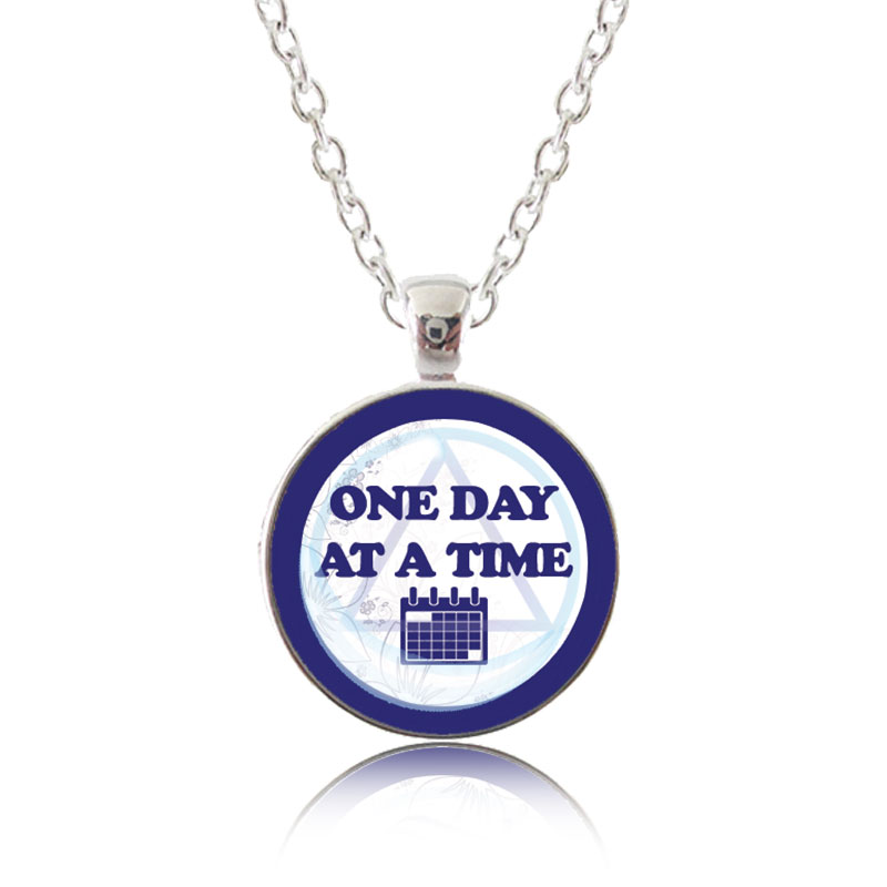 Glass Pendant Necklace - Classic Design - One Day at a Time