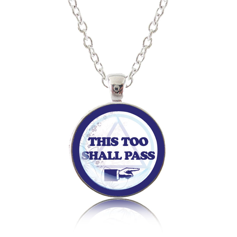 Glass Pendant Necklace - Classic Design - This too shall pass