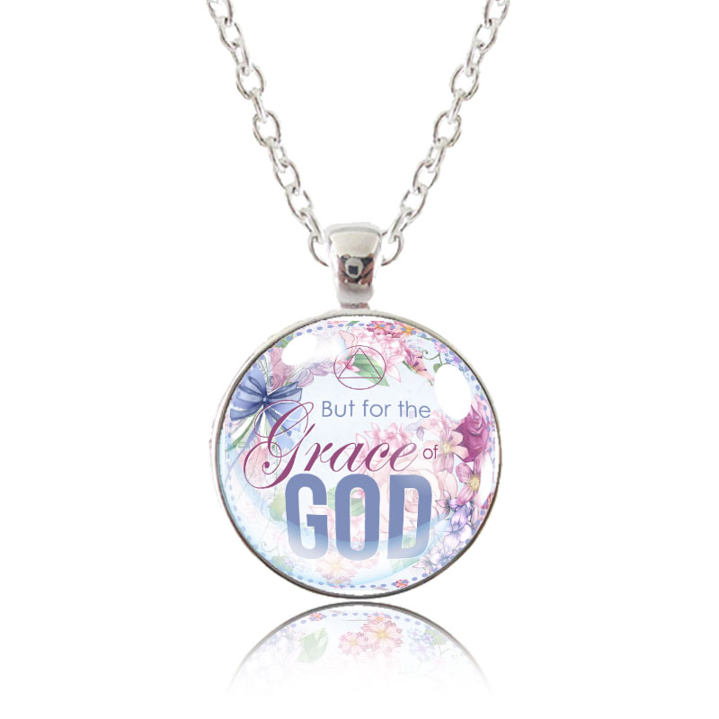 Glass Pendant Necklace - English Garden - But for the grace of God