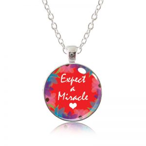 Glass Pendant Necklace - Red Lipstick Expect A Miracle
